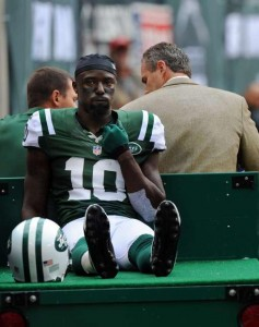 Nos Jets, Santonio Holmes nunca conseguiu repetir as apresentações nos Steelers