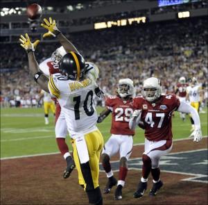 Santonio Holmes entrou para a história com o TD da vitória do Super Bowl XLIII nos últimos segundos