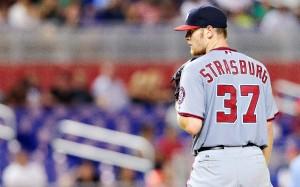 Irregular, Strasburg pelo menos lidera a Liga Nacional em strikeouts