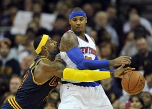 Carmelo Anthony se deu bem melhor contra o amigo LeBron James em Cleveland (Foto: USA Today Sports)