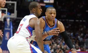 Chris Paul e Russell Westbrook duelam no Staples Center; armador do Thunder pode perder até 6 semanas da temporada