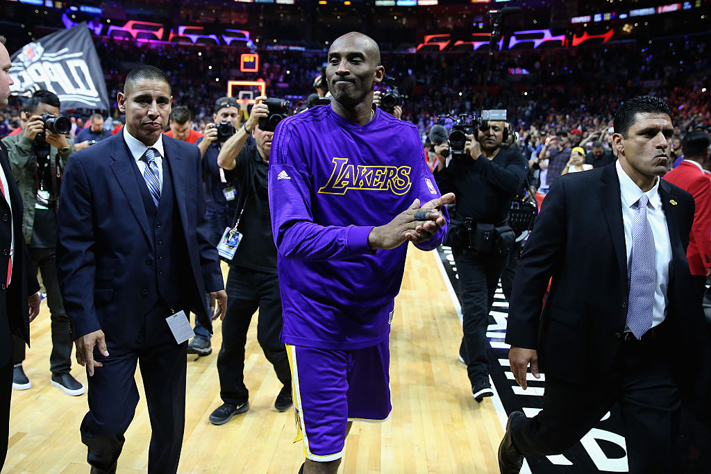 LOS ANGELES, CALIFORNIA - APRIL 05: Kobe Bryant #24 of the Los Angeles Lakers walks off the court after an NBA game between Los Angeles Clippers vs Los Angeles Lakers April 5, 2016 at Staples Center in Los Angeles, California