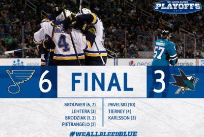 Com 31 saves de Jake Allen, Blues vencem Sharks e deixa série empatada - The Playoffs