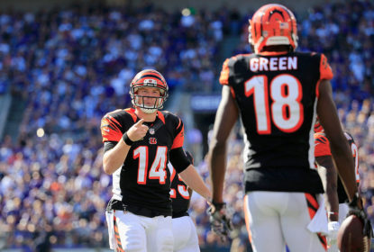 BALTIMORE, MD - SEPTEMBER 07: Quarterback Andy Dalton #14 of the Cincinnati Bengals celebrates with wide receiver A.J. Green #18 after Green's game winning touchdown during an NFL football game against the Baltimore Ravens at M&T Bank Stadium on September 7, 2014 in Baltimore, Maryland.