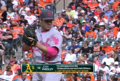 Catcher do Oakland Athletics vai ao montinho e consegue strikeout sobre Adam Jones - The Playoffs