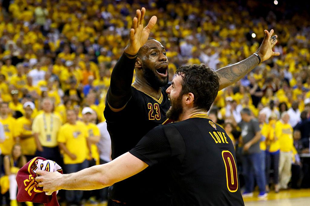 LeBron e Love celebram título da NBA