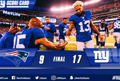 """New York Giants mantém fama de """"asa negra"""" e vence Patriots - The Playoffs"""