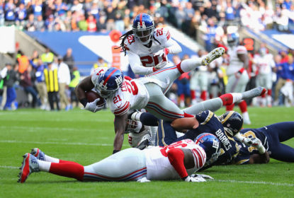 LONDON, ENGLAND - OCTOBER 23: Landon Collins of the New York Giants scores a touchdown during the NFL International Series match between New York Giants and Los Angeles Rams at Twickenham Stadium on October 23, 2016 in London, England. (