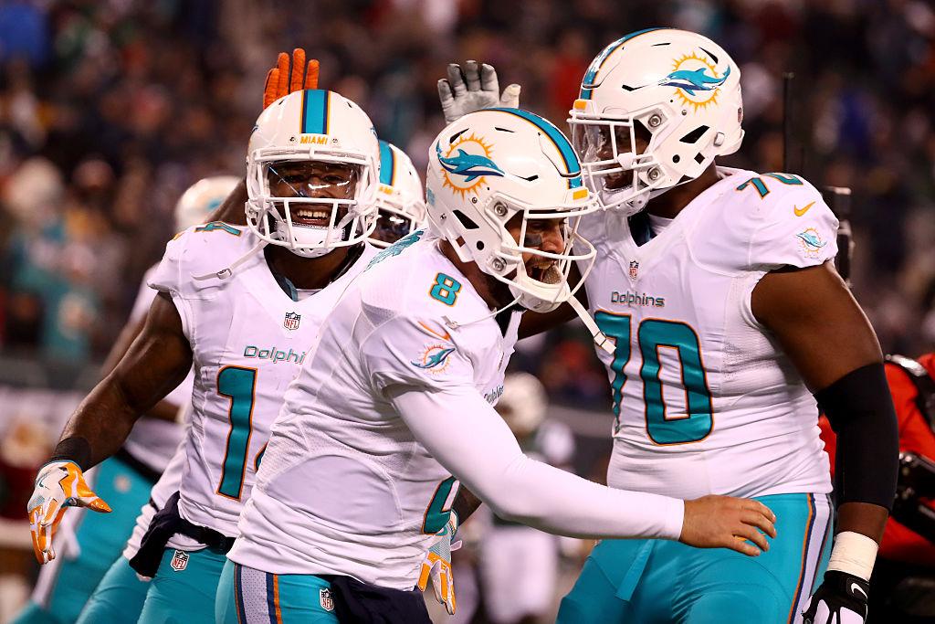 Dolphins comemoram vitória sobre os Jets