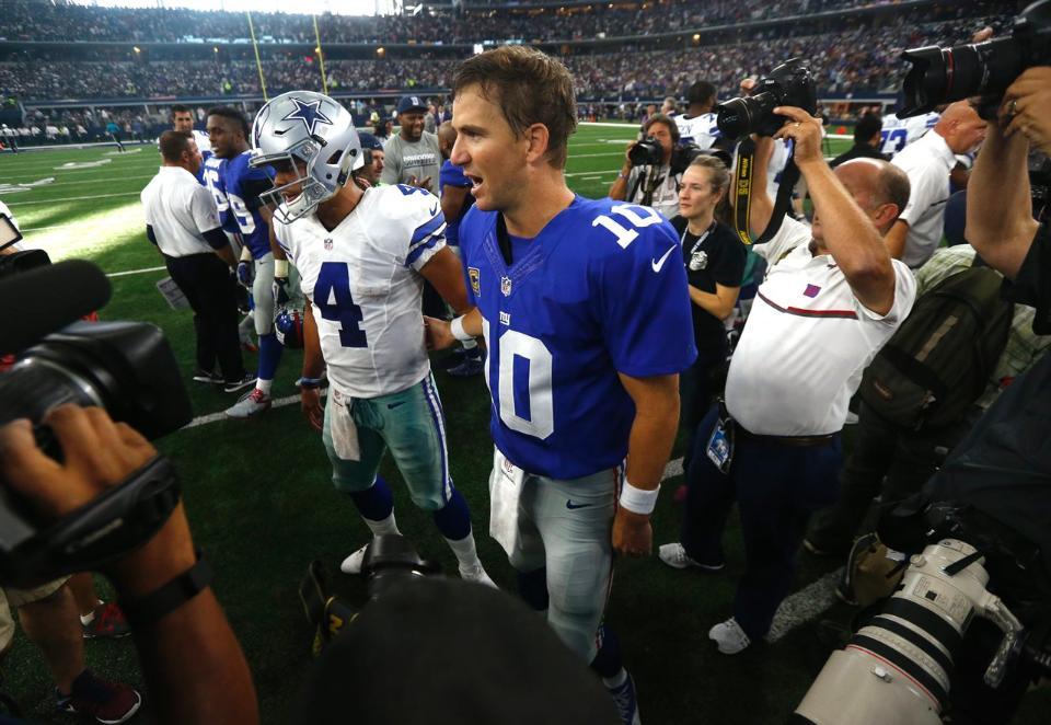 No último duelo, deu Giants contra os Cowboys, em Dallas
