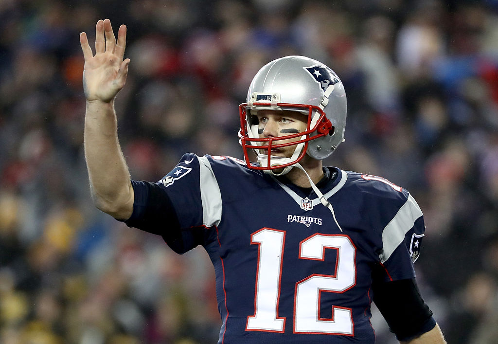 FOXBORO, MA - JANUARY 22: Tom Brady #12 of the New England Patriots reacts during the second half against the Pittsburgh Steelers in the AFC Championship Game at Gillette Stadium on January 22, 2017 in Foxboro, Massachusetts.