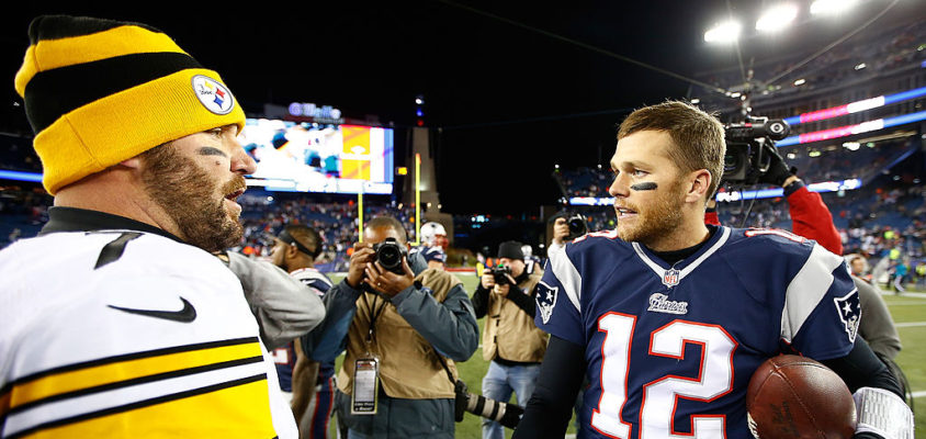 FOXBORO, MA - NOVEMBER 03: Ben Roethlisberger #7 of the Pittsburgh Steelers greets Tom Brady #12 of the New England Patriots following the game at Gillette Stadium on November 3, 2013 in Foxboro, Massachusetts.
