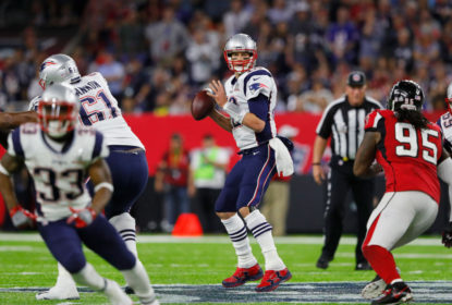 HOUSTON, TX - FEBRUARY 05: Tom Brady #12 of the New England Patriots looks for a pass during the second quarter against the Atlanta Falcons during Super Bowl 51 at NRG Stadium on February 5, 2017 in Houston, Texas.