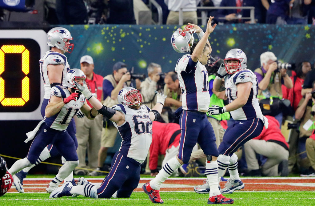 HOUSTON, TX - FEBRUARY 05: Tom Brady #12 of the New England Patriots reacts after defeating the Atlanta Falcons 34-28 in overtime during Super Bowl 51 at NRG Stadium on February 5, 2017 in Houston, Texas.