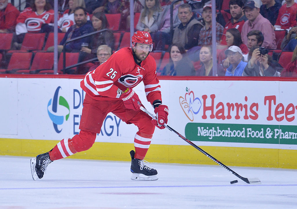 RALEIGH, NC - NOVEMBER 18: Viktor Stalberg #25 of the Carolina Hurricanes controls the puck against the Montreal Canadiens during the game at PNC Arena on November 18, 2016 in Raleigh, North Carolina.