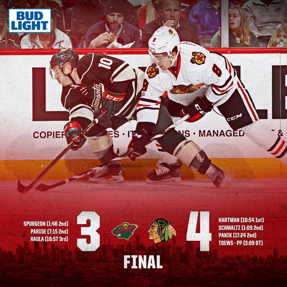 Chicago Blackhawks vence Minnesota Wild, na prorrogação, por 3 a 2