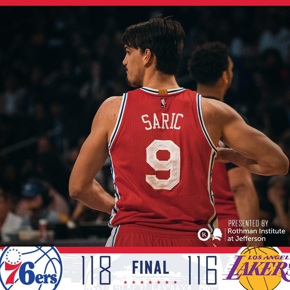 Dario Saric comanda vitória dos &6ers contra Lakers