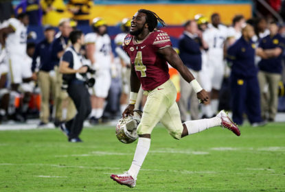 MIAMI GARDENS, FL - DECEMBER 30: MVP Dalvin Cook #4 of the Florida State Seminoles celebrates their 33 to 32 win over the Michigan Wolverines during the Capitol One Orange Bowl at Sun Life Stadium on December 30, 2016 in Miami Gardens, Florida.