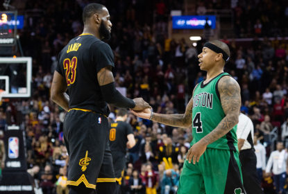 CLEVELAND, OH - DECEMBER 29: LeBron James #23 of the Cleveland Cavaliers celebrates with Isaiah Thomas #4 of the Boston Celtics during the final seconds second half at Quicken Loans Arena on December 29, 2016 in Cleveland, Ohio. The Cavaliers defeated the Celtics 124-118