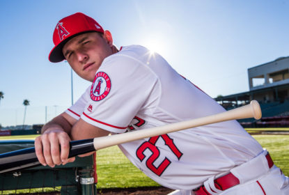 TEMPE, AZ - FEBRUARY 21: Mike Trout of the Los Angeles Angels of Anaheim poses for a portrait at Tempe Diablo Stadium on February 21, 2017 in Tempe, Arizona.