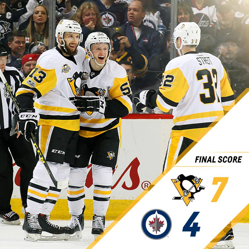 Jogando no Canadá, Pittsburgh Penguins derrota Winnipeg Jets por 7 a 4