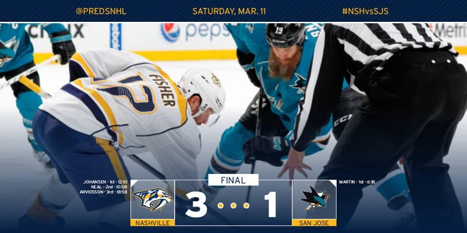 Longe de casa, Nashville Predators vence San Jose Sharks por 3 a 1
