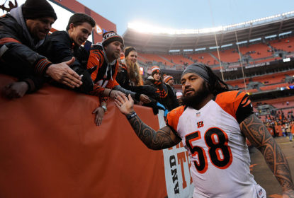 CLEVELAND, OH - DECEMBER 14: Rey Maualuga #58 of the Cincinnati Bengals celebrates with fans after a 30-0 win over the Cleveland Browns at FirstEnergy Stadium on December 14, 2014 in Cleveland, Ohio.