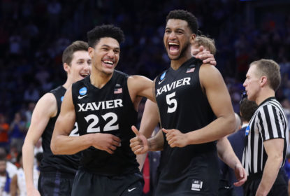 ORLANDO, FL - MARCH 18: Kaiser Gates #22 and Trevon Bluiett #5 of the Xavier Musketeers celebrate their 91-66 over the Florida State Seminoles to advance during the second round of the 2017 NCAA Men's Basketball Tournament at the Amway Center on March 18, 2017 in Orlando, Florida