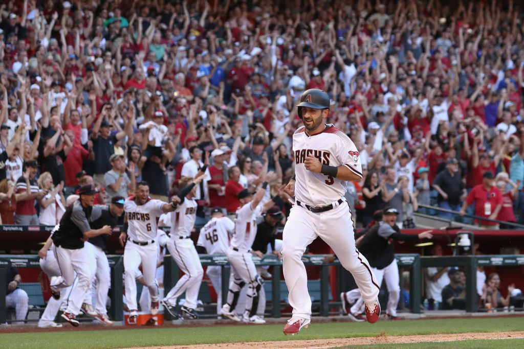 during the MLB opening day game at Chase Field on April 2, 2017 in Phoenix, Arizona.