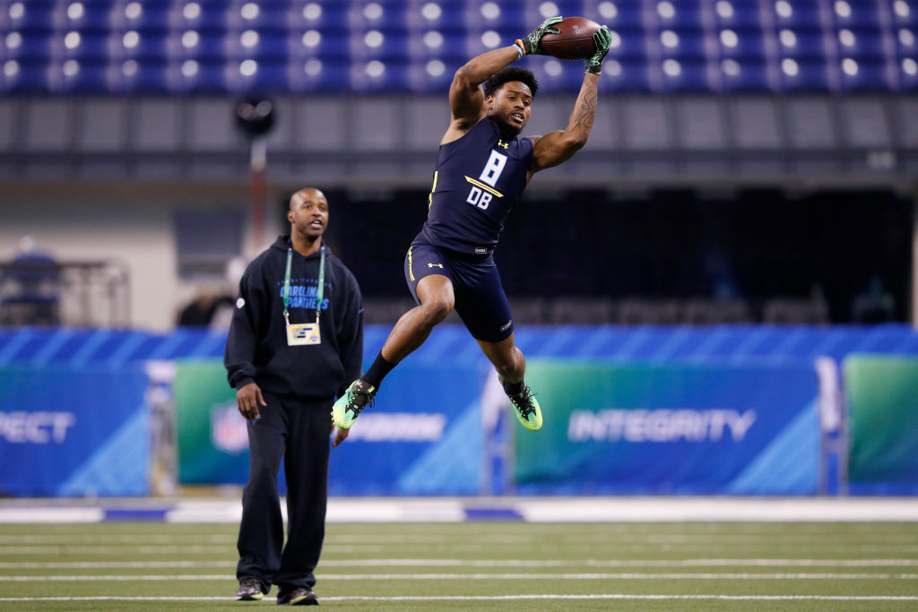 INDIANAPOLIS, IN - MARCH 06: Defensive back Gareon Conley of Ohio State participates in a drill during day six of the NFL Combine at Lucas Oil Stadium on March 6, 2017 in Indianapolis, Indiana.
