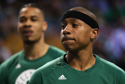 BOSTON, MA - APRIL 16: Isaiah Thomas #4 of the Boston Celtics looks on during warm ups before Game One of the Eastern Conference Quarterfinals against the Chicago Bulls at TD Garden on April 16, 2017 in Boston, Massachusetts