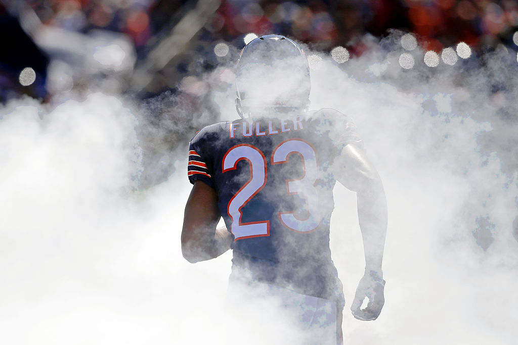 CHICAGO, IL - SEPTEMBER 20: Kyle Fuller #23 of the Chicago Bears enters the field during team introductions before the game against the Arizona Cardinals at Soldier Field on September 20, 2015 in Chicago, Illinois.The Arizona Cardinals won 48-23