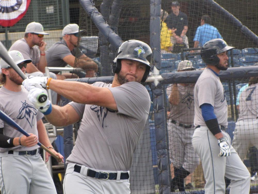 Tim Tebow em jogo do Single-A da MLB