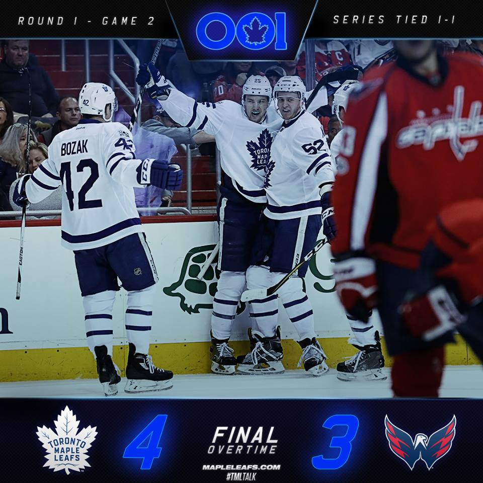 Maple Leafs sobrevivem à duas prorrogações e empatam série contra Capitals