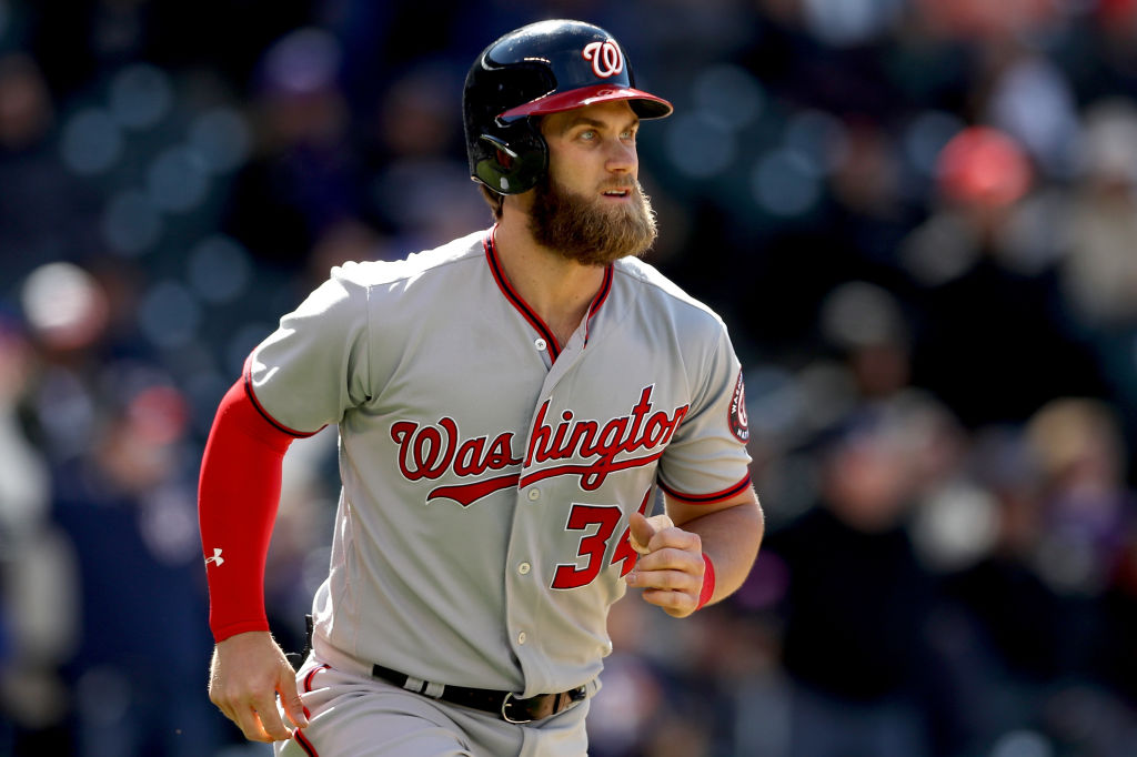 DENVER, CO - APRIL 27: Bryce Harper #34 of the Washington Nationals circles the bases after hitting a 3 RBI home run in the seventh inning against the Colorado Rockies at Coors Field on April 27, 2017 in Denver, Colorado.
