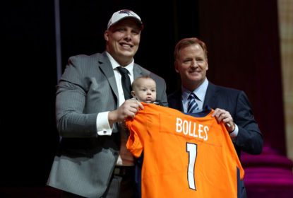 PHILADELPHIA, PA - APRIL 27: (L-R) Garett Bolles of Utah and his son Kingston pose with Commissioner of the National Football League Roger Goodell after being picked #20 overall by the Denver Broncosduring the first round of the 2017 NFL Draft at the Philadelphia Museum of Art on April 27, 2017 in Philadelphia, Pennsylvania.