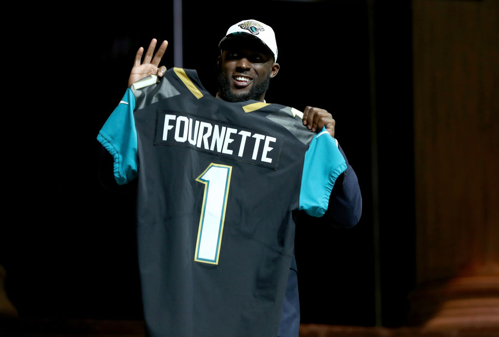 PHILADELPHIA, PA - APRIL 27: Leonard Fournette of LSU reacts poses after being picked #4 overall by the Jacksonville Jaguars during the first round of the 2017 NFL Draft at the Philadelphia Museum of Art on April 27, 2017 in Philadelphia, Pennsylvania