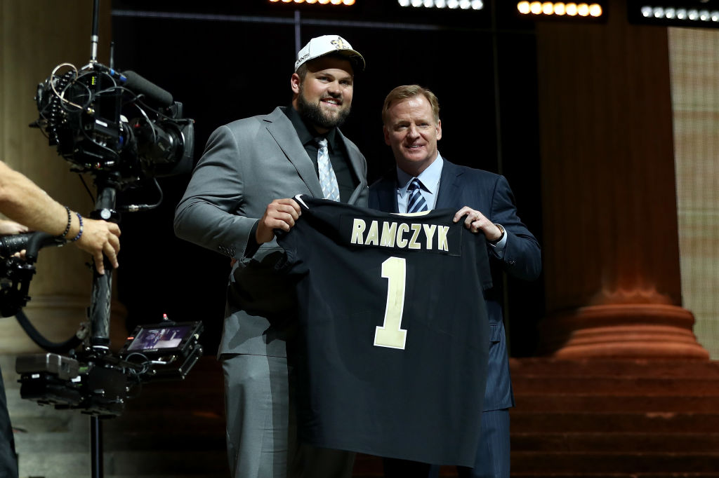 PHILADELPHIA, PA - APRIL 27: (L-R) Ryan Ramczyk of Wisconsin poses with Commissioner of the National Football League Roger Goodell after being picked #32 overall by the New Orleans Saints during the first round of the 2017 NFL Draft at the Philadelphia Museum of Art on April 27, 2017 in Philadelphia, Pennsylvania.