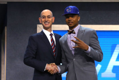 NEW YORK, NY - JUNE 22: Markelle Fultz walks on stage with NBA commissioner Adam Silver after being drafted first overall by the Philadelphia 76ers during the first round of the 2017 NBA Draft at Barclays Center on June 22, 2017 in New York City.