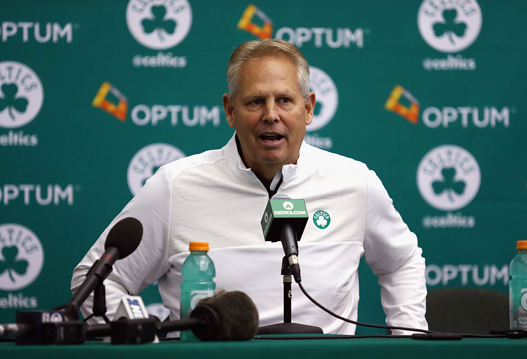 WALTHAM, MA - SEPTEMBER 26: General manager Danny Ainge of the Boston Celtics speaks with the media during Boston Celtics Media Day on September 26, 2016 in Waltham, Massachusetts.