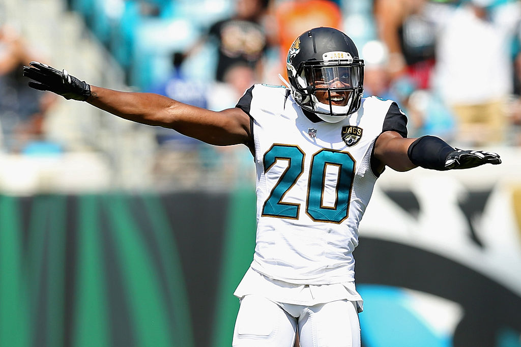JACKSONVILLE, FL - SEPTEMBER 25: Jalen Ramsey #20 of the Jacksonville Jaguars celebrates a missed field goal during the game against the Baltimore Ravens at EverBank Field on September 25, 2016 in Jacksonville, Florida.