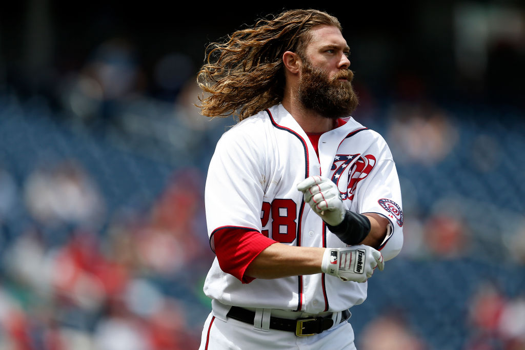 WASHINGTON, DC - MAY 25: Jayson Werth #28 of the Washington Nationals looks on after flying out for the third out of the third inning against the Seattle Mariners at Nationals Park on May 25, 2017 in Washington, DC.
