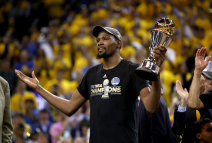 OAKLAND, CA - JUNE 12: Kevin Durant #35 of the Golden State Warriors celebrates after being named Bill Russell NBA Finals Most Valuable Player after defeating the Cleveland Cavaliers 129-120 in Game 5 to win the 2017 NBA Finals at ORACLE Arena on June 12, 2017 in Oakland, California.