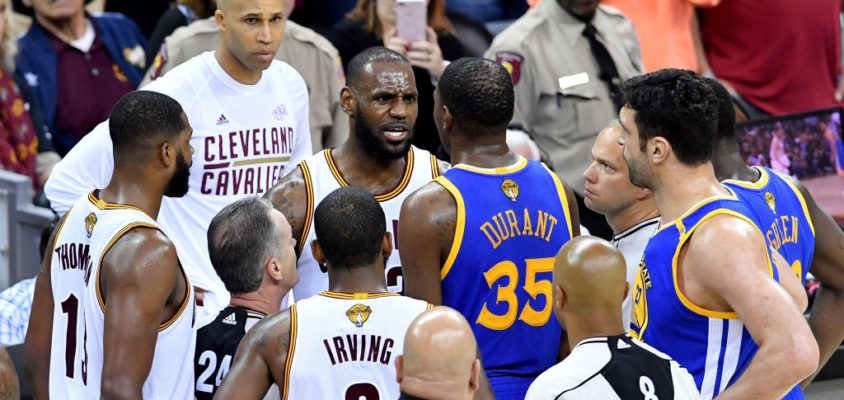 CLEVELAND, OH - JUNE 09: LeBron James #23 of the Cleveland Cavaliers and Kevin Durant #35 of the Golden State Warriors speak after a foul in the third quarter in Game 4 of the 2017 NBA Finals at Quicken Loans Arena on June 9, 2017 in Cleveland, Ohio