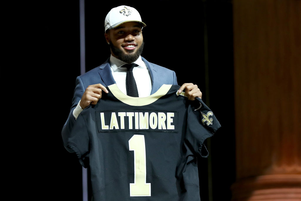 PHILADELPHIA, PA - APRIL 27: Marshon Lattimore of Ohio State reacts after being picked #11 overall by the New Orleans Saints during the first round of the 2017 NFL Draft at the Philadelphia Museum of Art on April 27, 2017 in Philadelphia, Pennsylvania.