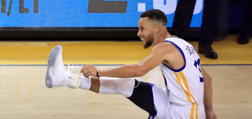 Stephen Curry in Game 1 of the 2017 NBA Finals at ORACLE Arena on June 1, 2017 in Oakland, California.