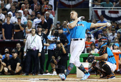 MIAMI, FL - JULY 10: Aaron Judge #99 of the New York Yankees competes in the T-Mobile Home Run Derby at Marlins Park on July 10, 2017 in Miami, Florida.