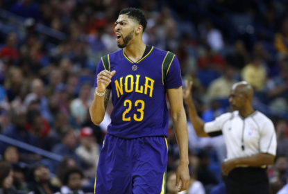 NEW ORLEANS, LA - FEBRUARY 23: Anthony Davis #23 of the New Orleans Pelicans reacts during a game against Houston Rockets at the Smoothie King Center on February 23, 2017 in New Orleans, Louisiana.