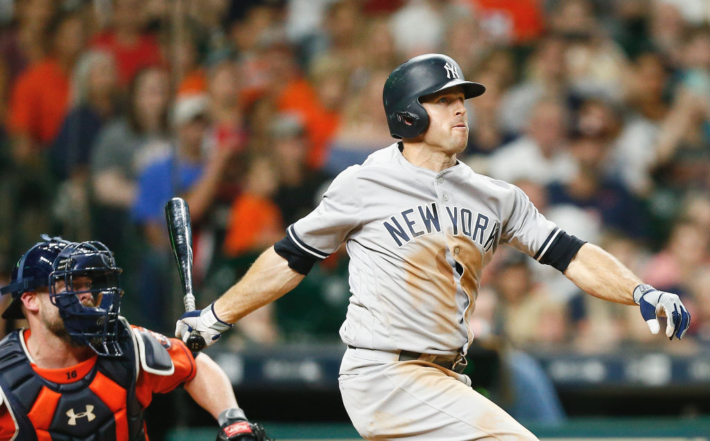 HOUSTON, TX - JUNE 30: Brett Gardner #11 of the New York Yankees hits a grand slam in the seventh inning against the Houston Astros at Minute Maid Park on June 30, 2017 in Houston, Texas.