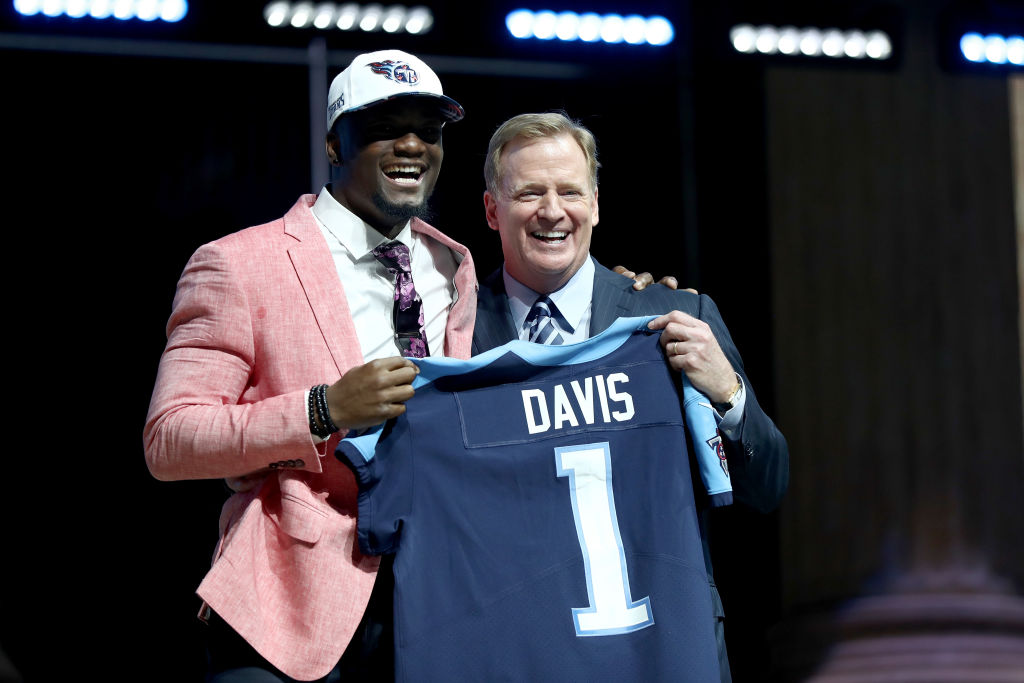 PHILADELPHIA, PA - APRIL 27: Corey Davis of Western Michigan poses with Commissioner of the National Football League Roger Goodell after being picked #5 overall by the Tennessee Titans (from Rams) during the first round of the 2017 NFL Draft at the Philadelphia Museum of Art on April 27, 2017 in Philadelphia, Pennsylvania.